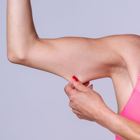 Midsection Of Woman Holding Arm Against Colored Background
