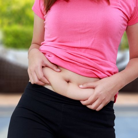 midsection of woman pinching belly fat