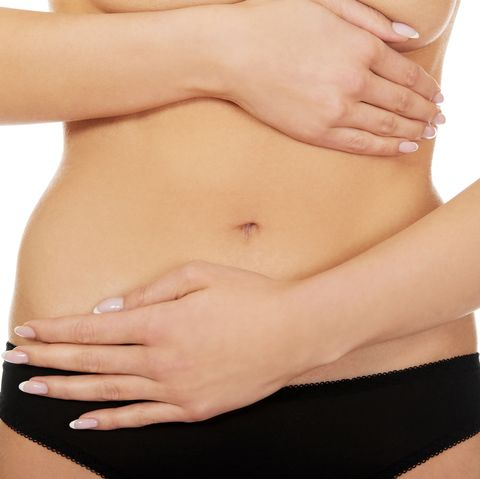 Midsection Of Woman Touching Abdomen