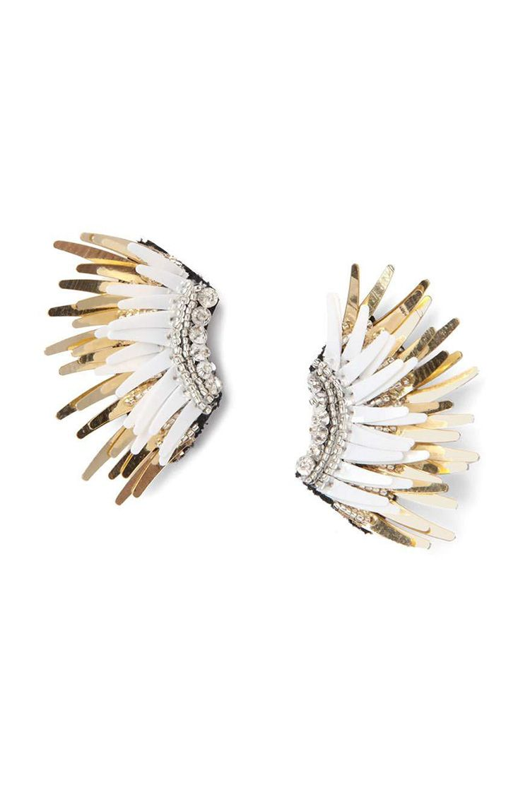 beaded gold and white statement earrings