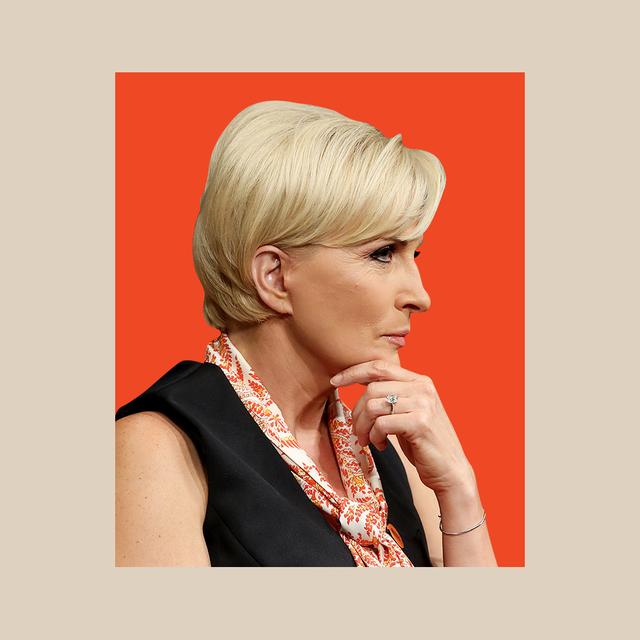 mika brzezinski portrait in red box on neutral background