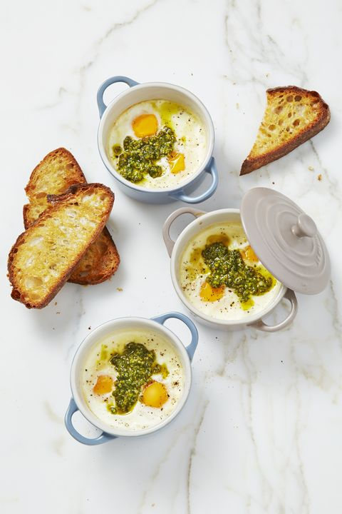 Mint-Pesto Baked Eggs