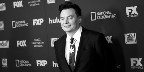 beverly hills, california   january 06 editors note image has been shot in black and white color version not available mike myers attends the fox, fx and hulu 2019 golden globe awards after party at the beverly hilton hotel on january 06, 2019 in beverly hills, california photo by tibrina hobsonwireimage