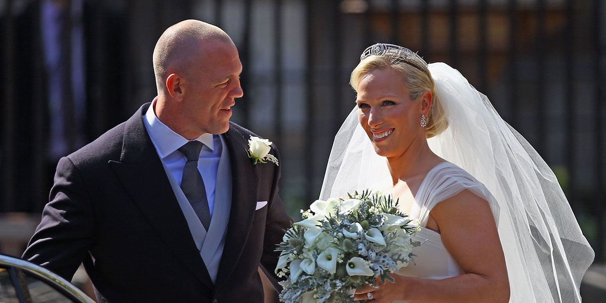 Mike and Zara Tindall on their wedding day