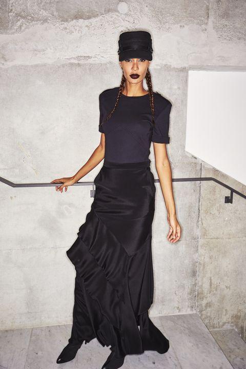 Clothing, Shoulder, Fashion, Dress, Waist, Little black dress, Joint, Neck, Fashion model, Leg,