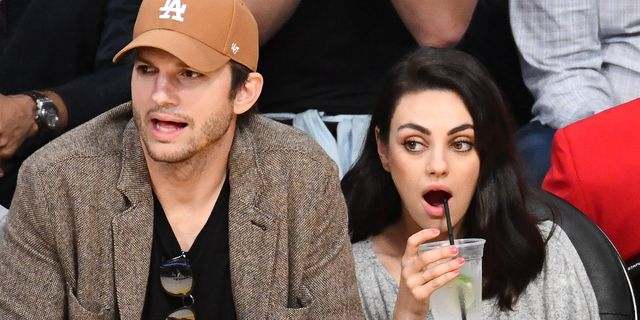 los angeles, california   january 29 ashton kutcher and mila kunis attend a basketball game between the los angeles lakers and the philadelphia 76ers at staples center on january 29, 2019 in los angeles, california photo by allen berezovskygetty images