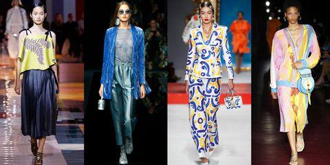 Fashion model, Clothing, Fashion, Blue, Runway, Suit, Electric blue, Fashion design, Cobalt blue, Formal wear,
