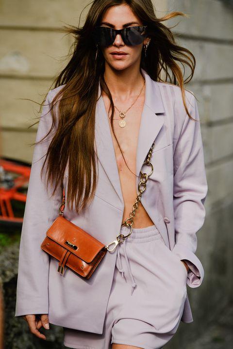 Eyewear, White, Clothing, Street fashion, Fashion, Blazer, Shoulder, Outerwear, Sunglasses, Orange,
