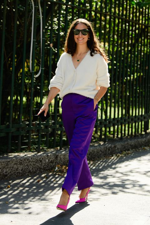 Clothing, Street fashion, Fashion, Purple, Cobalt blue, Pink, Violet, Shoulder, Footwear, Waist,