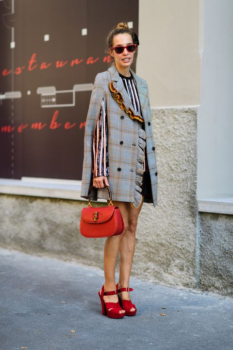 Clothing, Street fashion, Fashion, Red, Eyewear, Orange, Shoulder, Footwear, Fashion model, Outerwear,