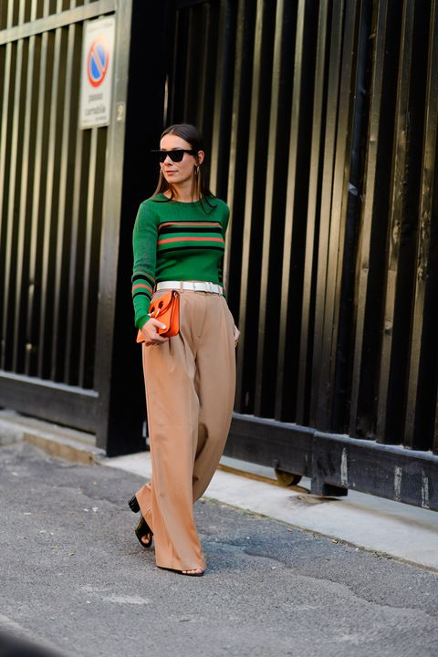 Clothing, Street fashion, Fashion, Green, Orange, Shoulder, Waist, Fashion model, Shirt, Crop top,
