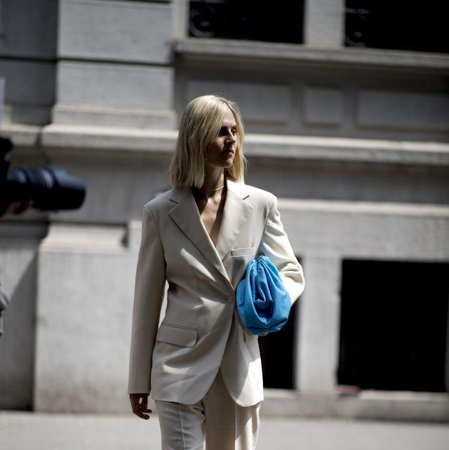 Clothing, White, Street fashion, Photograph, Fashion, Suit, Blue, Blazer, Outerwear, Snapshot,