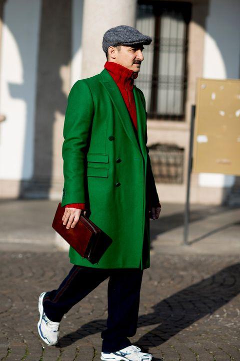 Clothing, Street fashion, Green, Fashion, Coat, Snapshot, Overcoat, Outerwear, Footwear, Headgear,