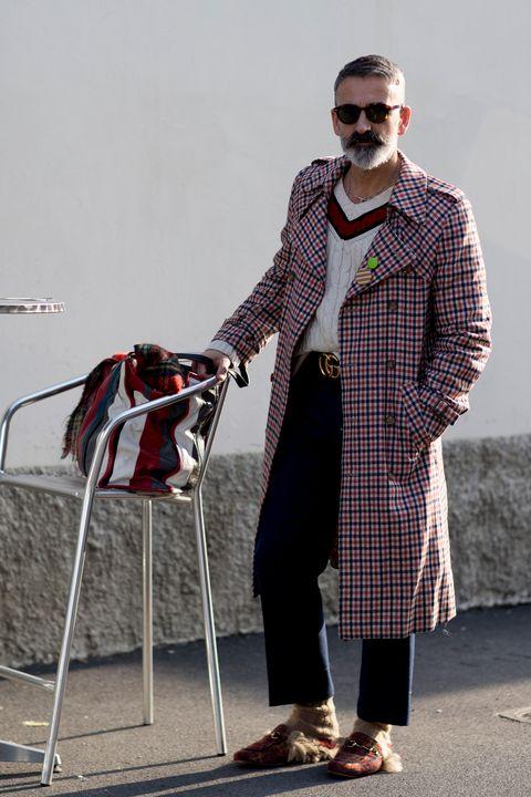 Clothing, Street fashion, Fashion, Eyewear, Sunglasses, Standing, Tartan, Outerwear, Human, Design,