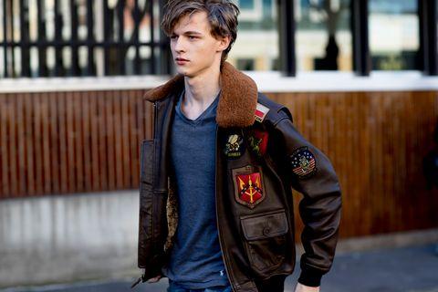 Street fashion, Clothing, Jacket, Fashion, Shoulder, Jeans, Leather, Snapshot, Leather jacket, Denim,