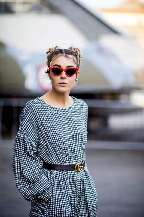 Eyewear, Sunglasses, White, Street fashion, Lip, Clothing, Fashion, Glasses, Shoulder, Beauty,