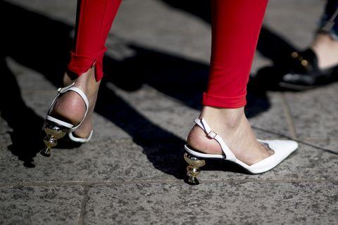 Footwear, Human leg, Red, Leg, Shoe, High heels, Street fashion, Ankle, Fashion, Foot,