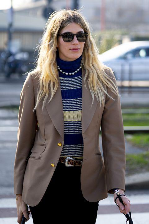 Eyewear, Clothing, Street fashion, White, Sunglasses, Blazer, Fashion, Outerwear, Yellow, Jacket,