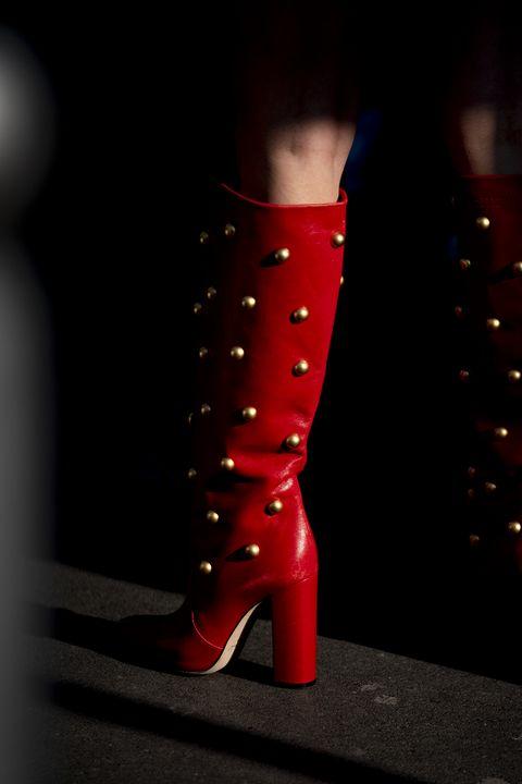 Footwear, High heels, Red, Shoe, Knee-high boot, Boot, Human leg, Leg, Joint, Fashion,