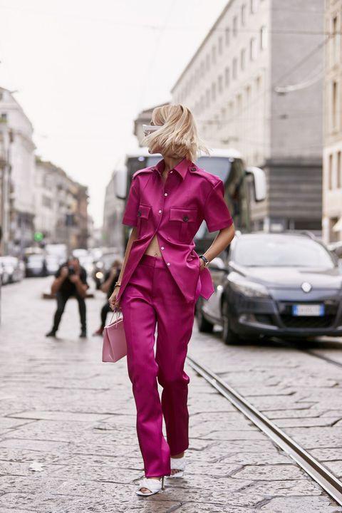Pink, Street fashion, Red, Fashion, Walking, Snapshot, Street, Pedestrian, Footwear, Outerwear,