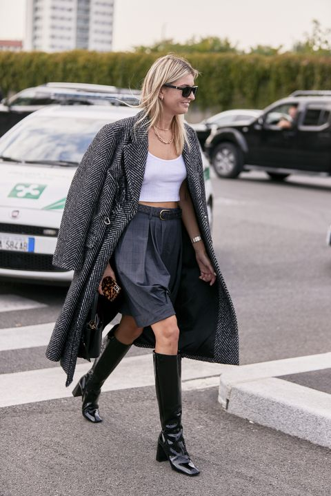Clothing, Street fashion, Fashion, Footwear, Outerwear, Snapshot, Tights, Coat, Long hair, Dress,