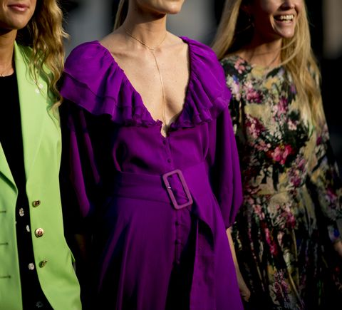 Fashion, Event, Purple, Fashion design, Fashion model, Fashion show, Dress, Haute couture, Long hair, Magenta,