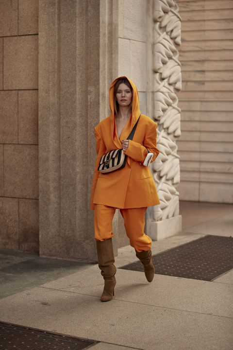 Orange, Clothing, Street fashion, Yellow, Snapshot, Fashion, Footwear, Costume, Outerwear, Photography,