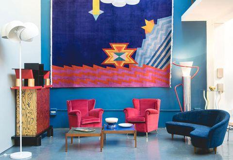 Blue, Interior design, Room, Floor, Flooring, Wall, Furniture, Interior design, Majorelle blue, Paint,