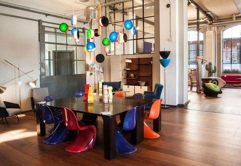 Lighting, Interior design, Room, Floor, Flooring, Ceiling, Table, Chair, Hardwood, Interior design,