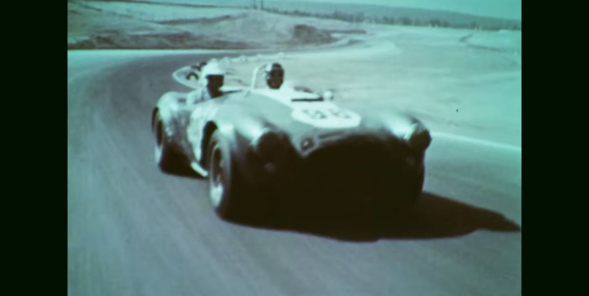 Watch the real Ken Miles race a Shelby Cobra in vintage footage from the Petersen