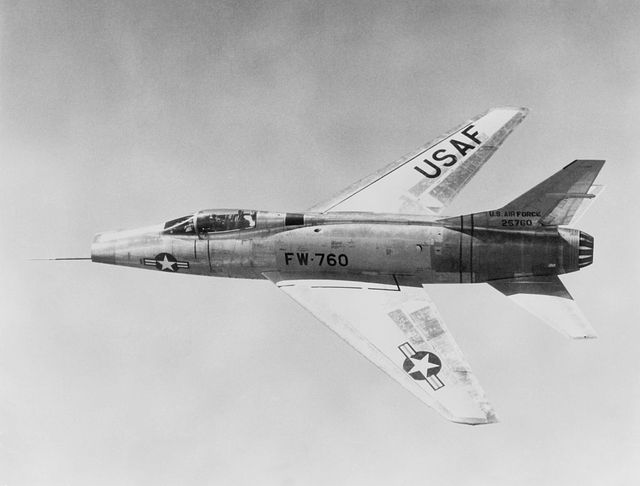usa, military , air force north american f 100 super sabre in flightabout 1965