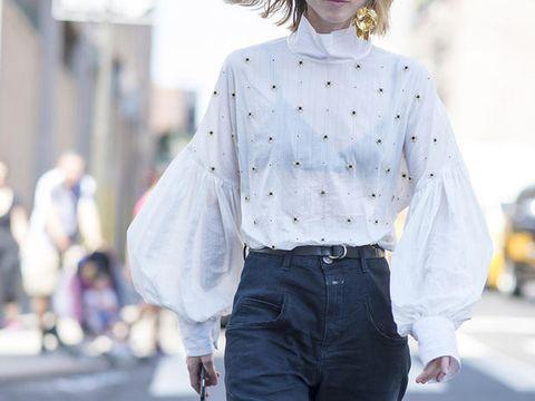 White, Clothing, Street fashion, Shirt, Jeans, Denim, Fashion, Shoulder, Sleeve, Waist,