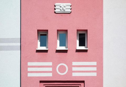 Pink, Wall, Facade, House, Font, Architecture, Rectangle, Window, Building,
