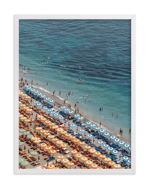 positano beach aerial art print poster
