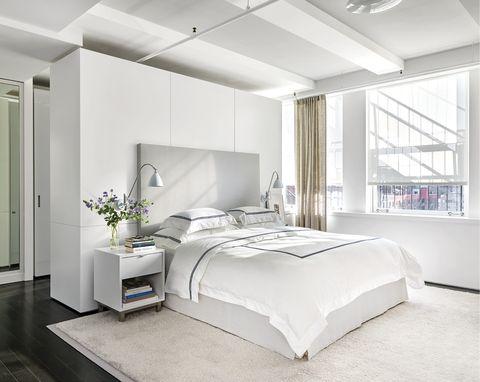 Bedroom, Furniture, Bed, White, Room, Interior design, Bed sheet, Bed frame, Bedding, Floor,