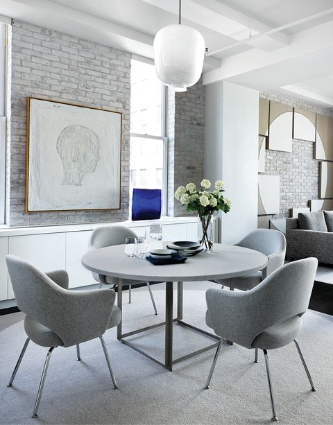 Room, Furniture, Interior design, White, Living room, Table, Property, Building, Dining room, Wall,