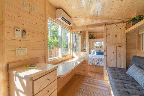Mini casa de construcción modular y decoración boho