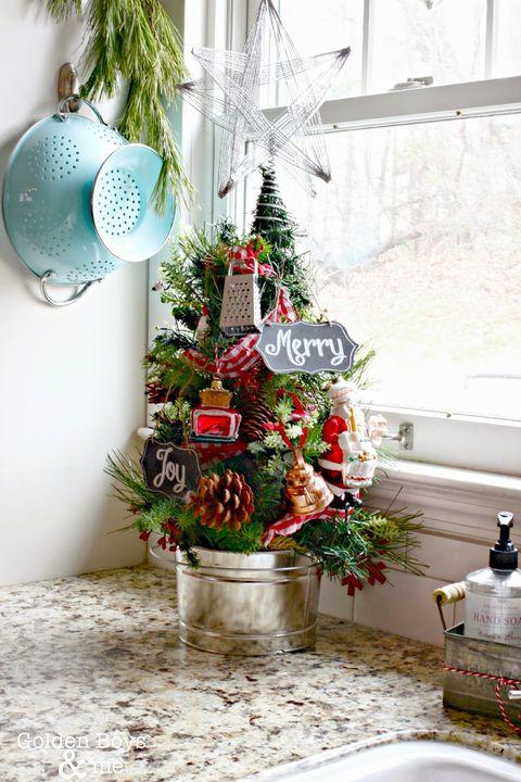 mini christmas trees kitchen