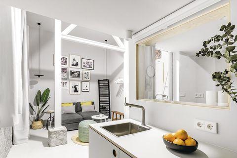 un mini estudio moderno cocina pequeña y salón