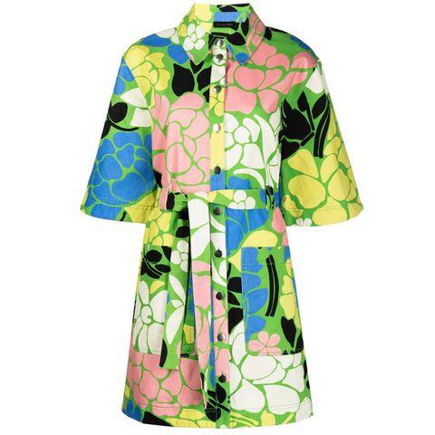 mini jurk met bloemenprint met driekwartsmouwen en knopen en een strikceintuur van stine goya via farfetch