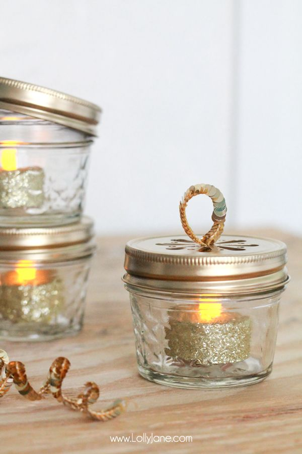 mini ball jar tea light homemade christmas ornament