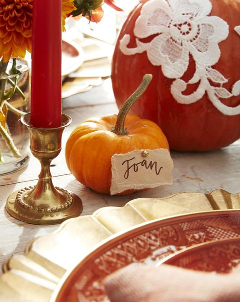 mini orange pumpkin place card