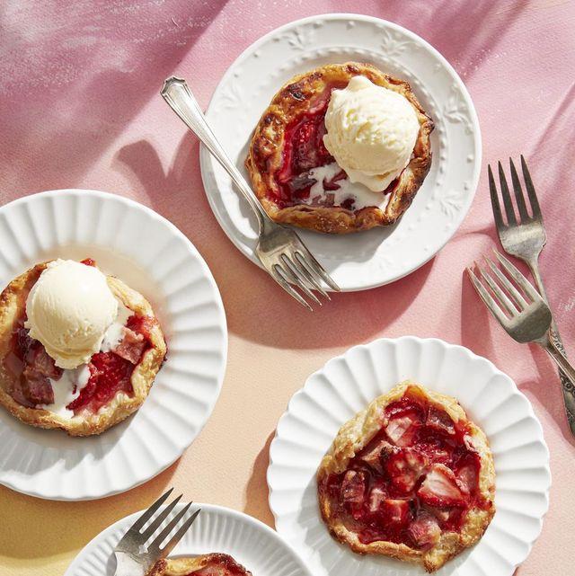 mini strawberry rhubarb galettes