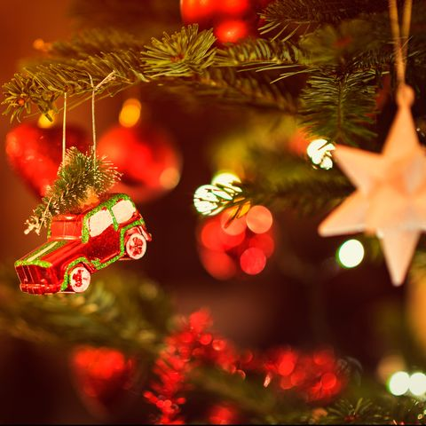 Miniature Toy Car hanging in Christmas Tree