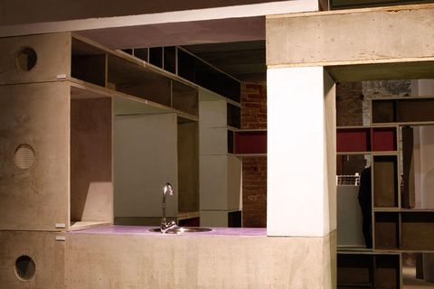 Architecture, Wall, Floor, Ceiling, Fixture, Composite material, Material property, Space, Design, Tile,