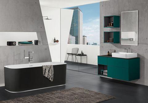 Blue, Room, Interior design, Architecture, Floor, Property, Plumbing fixture, Wall, Flooring, Tile,