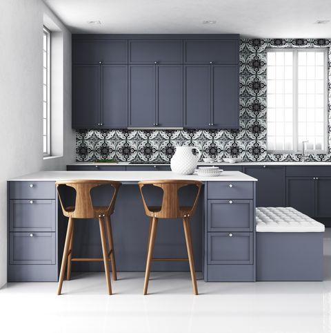 Minimalist blue kitchen