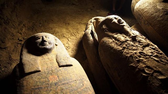 two of the myriad coffins recently discovered in egypt