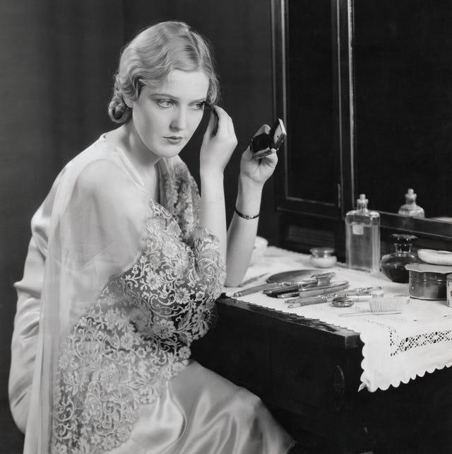 actress miriam seegar at vanity table