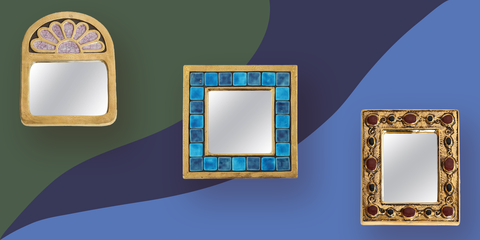 Blue, Picture frame, Mirror, Product, Wall, Rectangle, Room, Design, Architecture, Shelf,